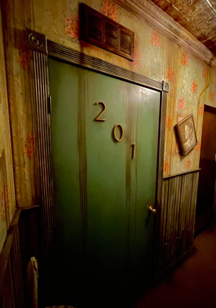 """Closeup of room 201 in """"No Vacancy"""" escape room"""