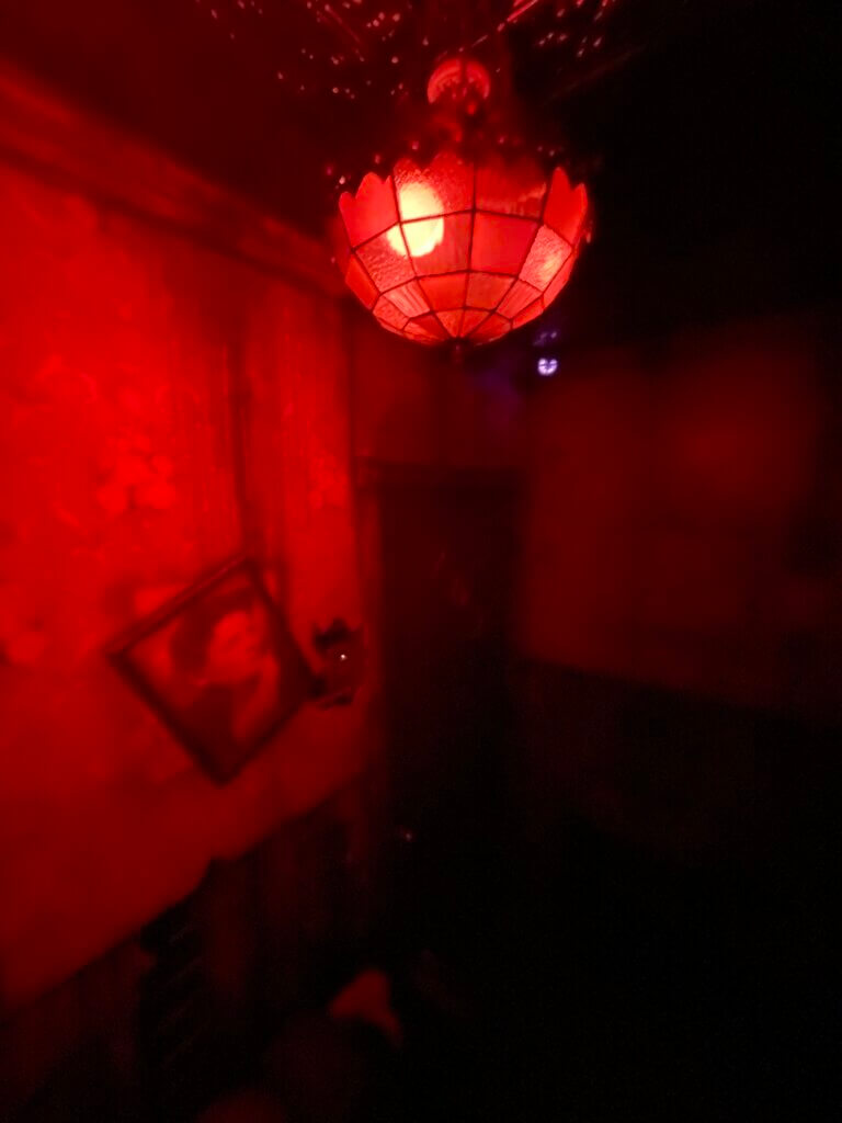 Dark room with a red lamp hanging overhead
